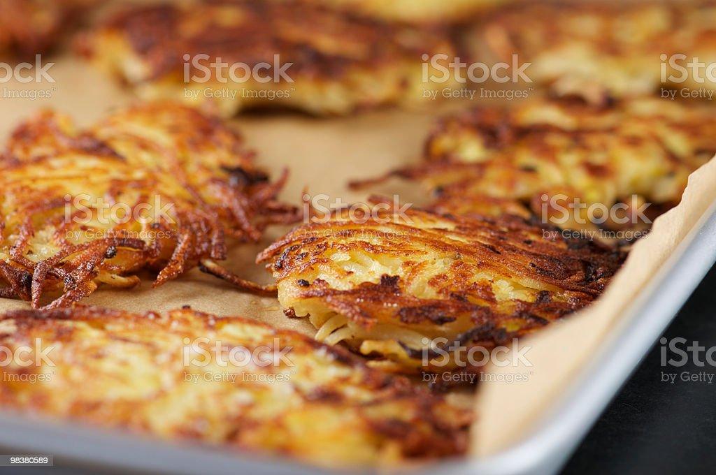 Tray of Crispy Potato Latkes royalty-free stock photo