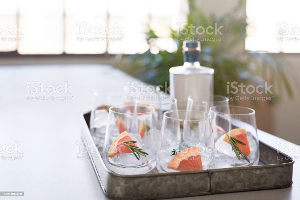 Tray of drinks on the counter before a party stock photo