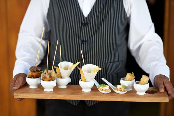 Tray of good food canapés stock photo