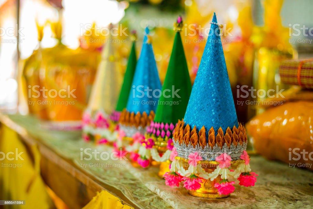 Tray of Pedestal (Phan Baisri) for dedicate the Buddha stock photo
