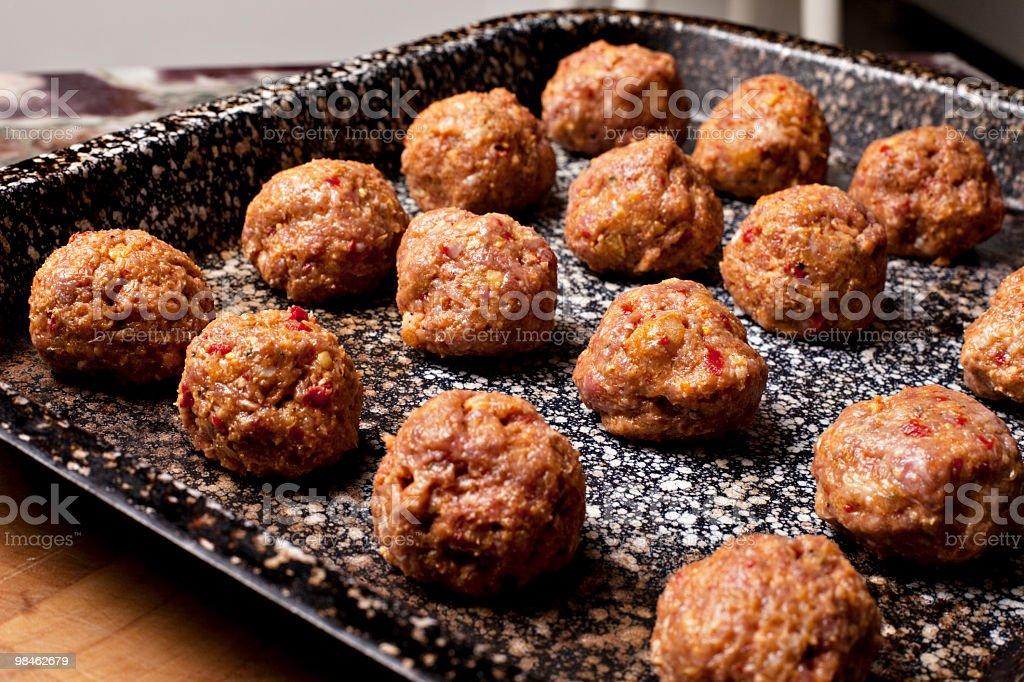 Tray of raw meatballs horizontal royalty-free stock photo