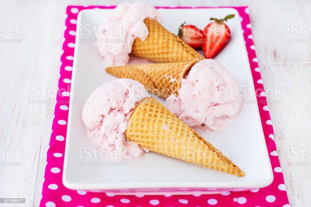 Tray of Strawberry Ice Cream Cones stock photo