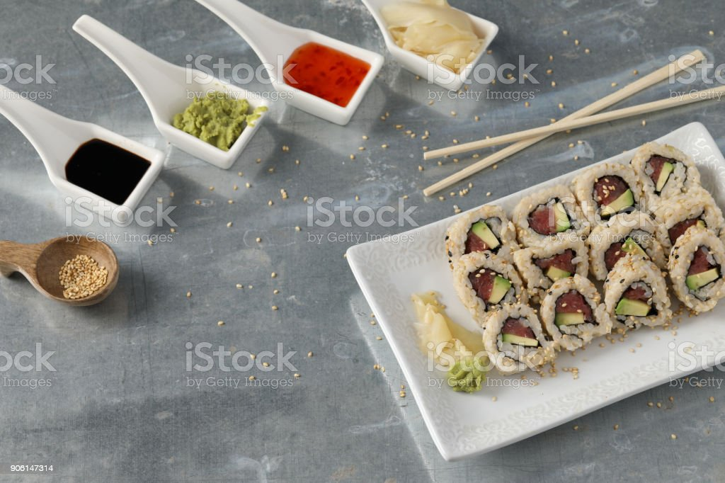 Tray Of Sushi And Condiments stock photo