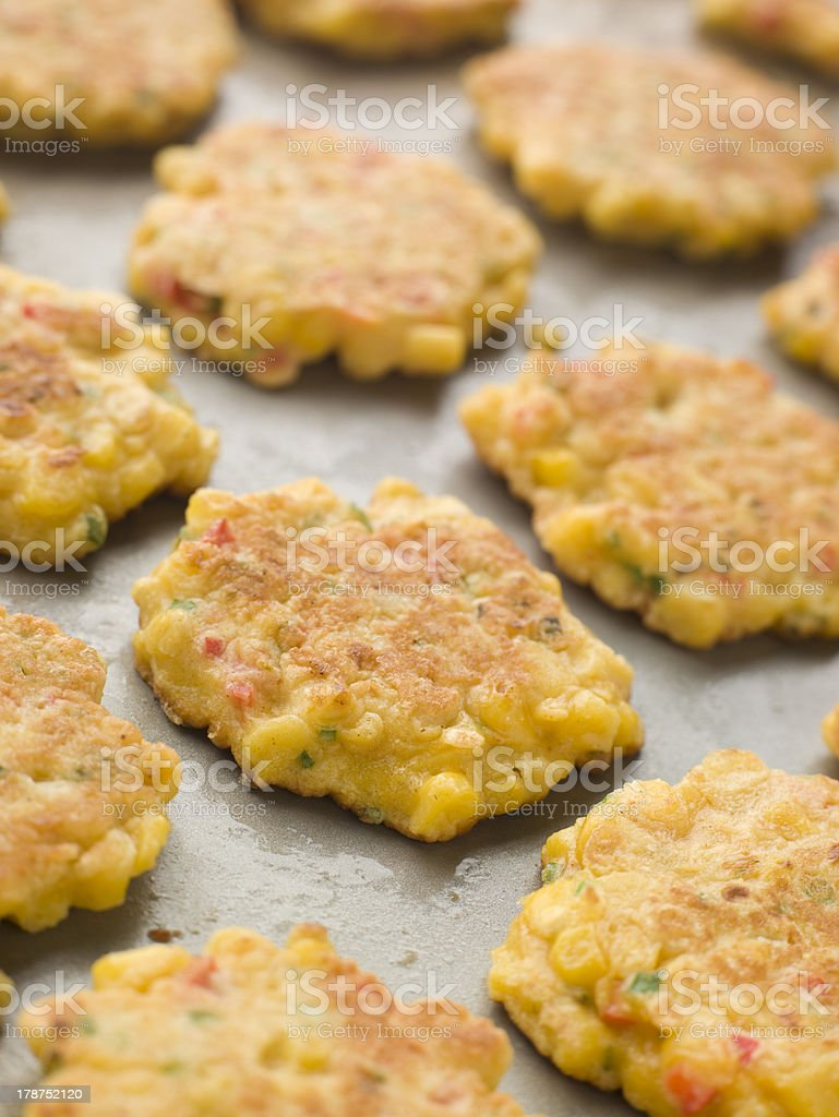 Tray of Sweet corn Fritters stock photo
