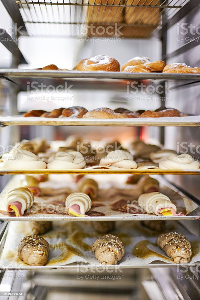 Tray with croissants stock photo