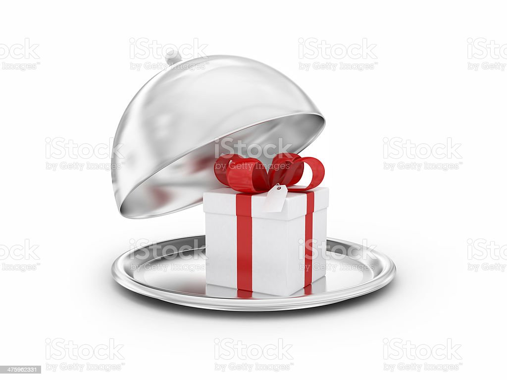 Tray with gift royalty-free stock photo
