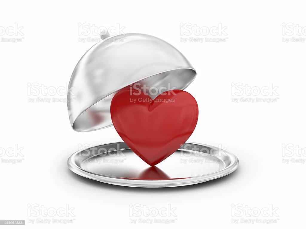 Tray with heart royalty-free stock photo