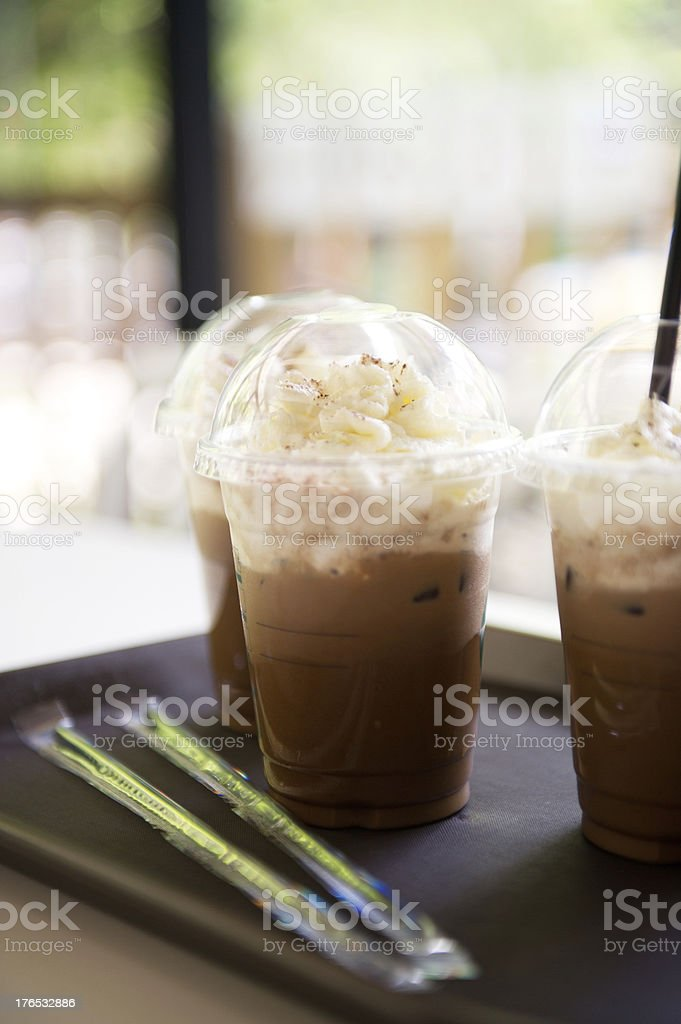 Tray with Iced Coffee stock photo