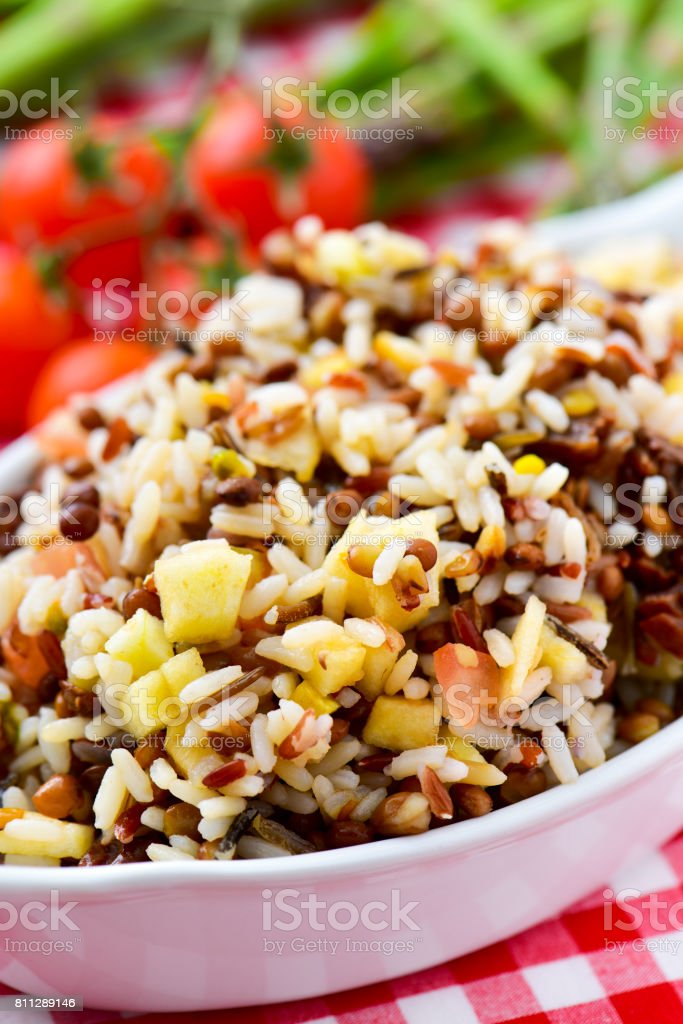 tray with lentil and rice salad stock photo