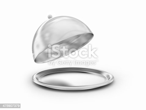 Silver salver with open cover, 3d render