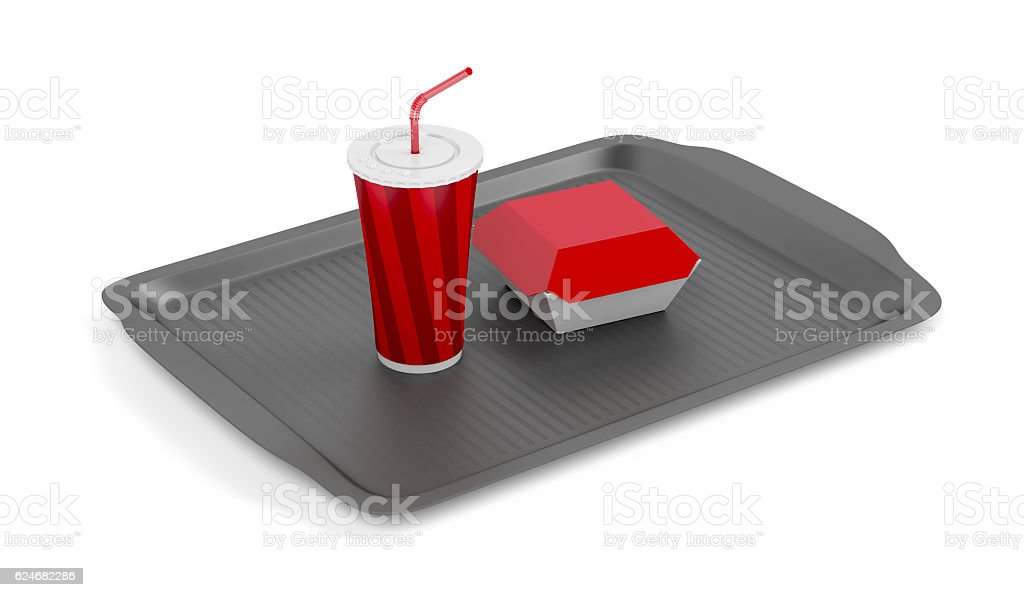 Tray with soda and sandwich - Photo