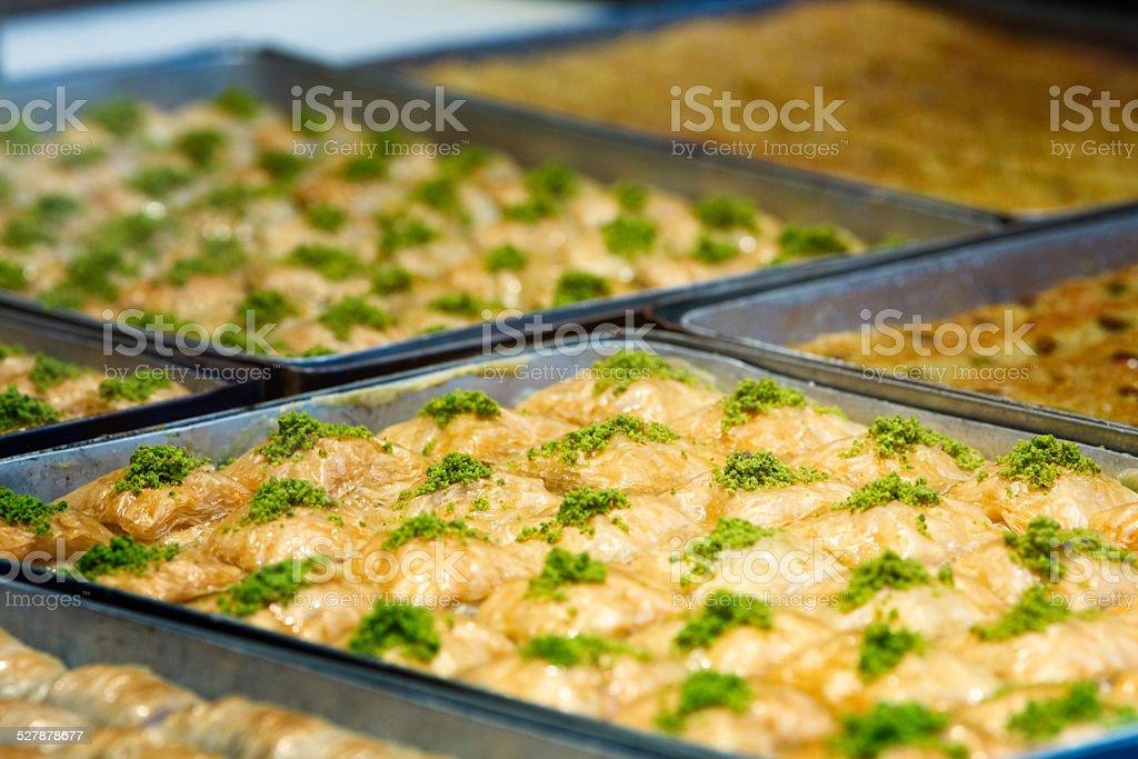 Trays of fresh baklava at bakery royalty-free stock photo