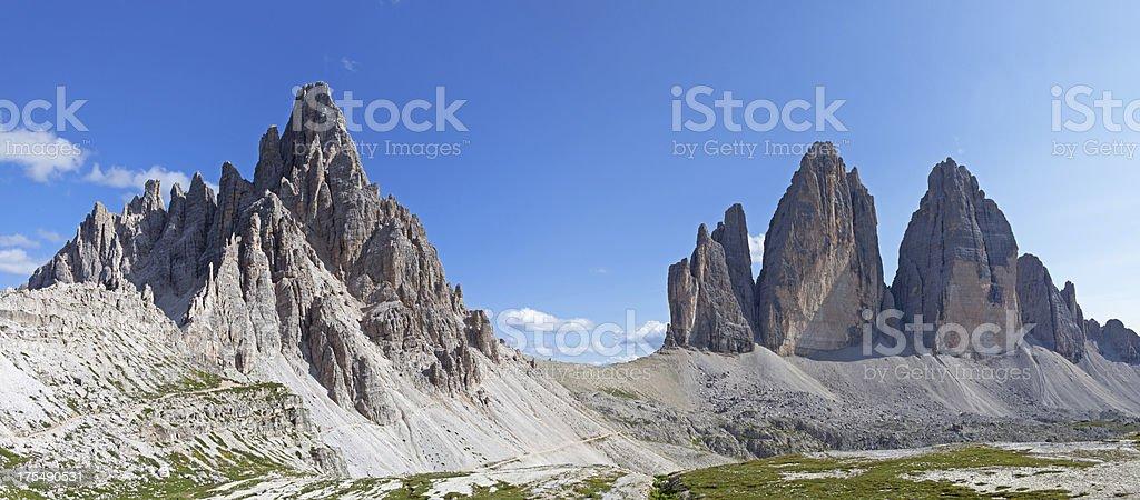 Tre Cime di Lavaredo and Paternkofel stock photo