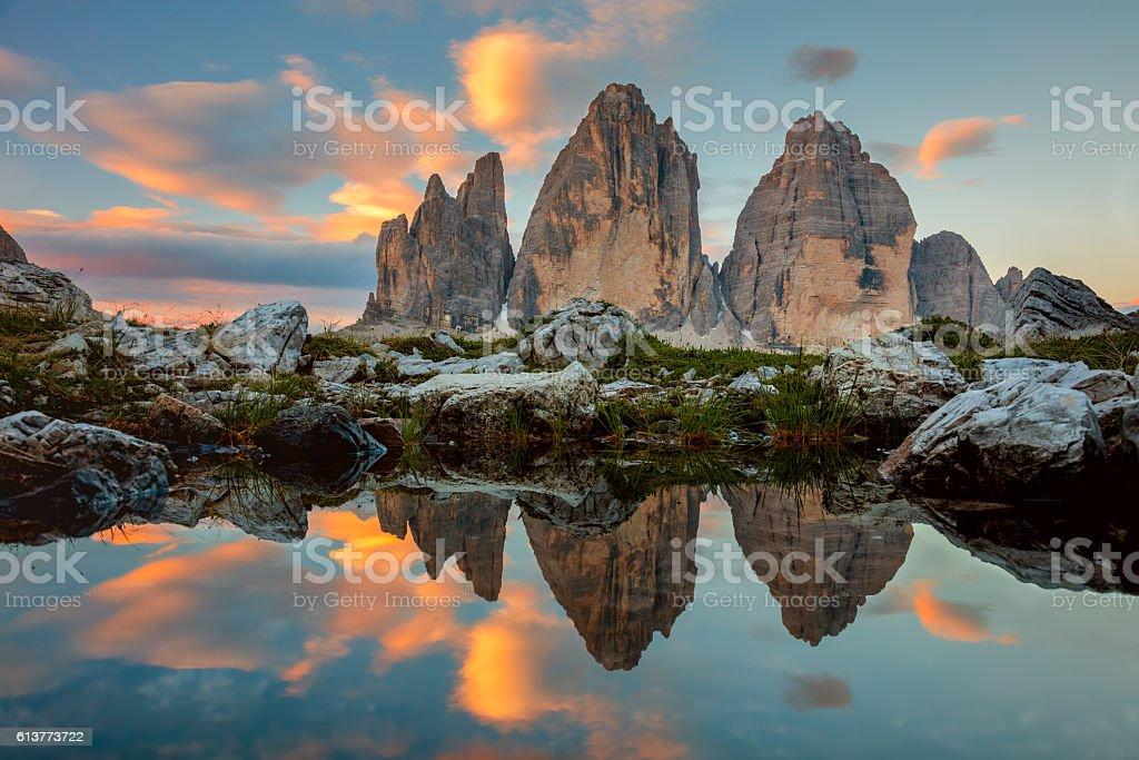 Tre Cime di Lavaredo at beautiful sunrise, Italy, Europe stock photo