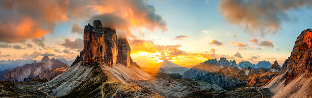 Tre Cime di Lavaredo, Dolomites Sunset panorama of the famous three peaks of Lavaredo, in Dolomites, Italy dolomites stock pictures, royalty-free photos & images