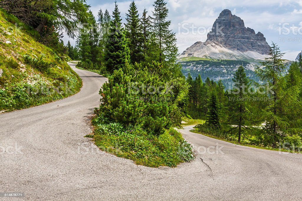 Tre Cime di Lavaredo in Cortina d'Ampezzo, - Dolomites, Italy stock photo