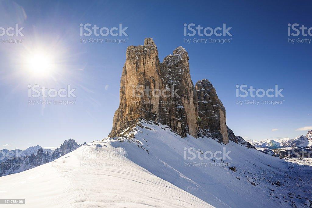 Tre Cime di Lavaredo in Winter, Dolomites, Italy stock photo