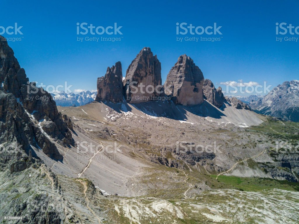 Tre cime di Lavaredo Italian Dolomites Panorama stock photo