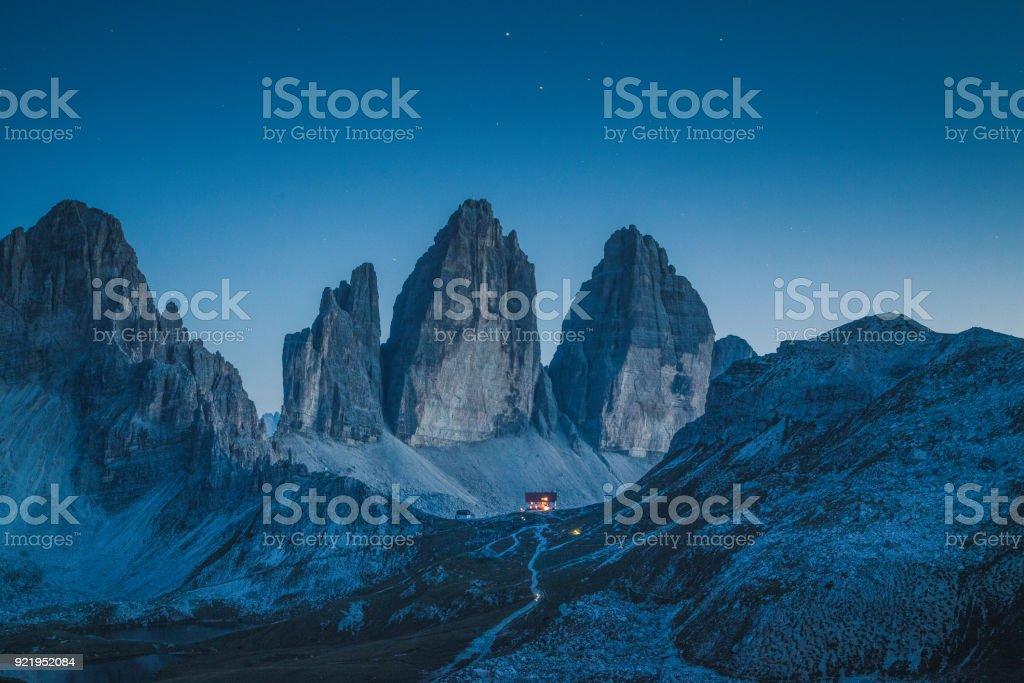 Tre Cime di Lavaredo mountain summits in the Dolomites at night, South Tyrol, Italy stock photo