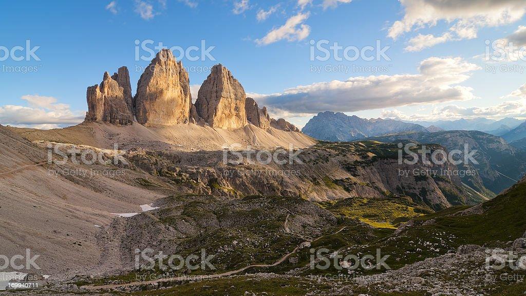 Tre Cime di Lavaredo, the most famous Dolomite peaks stock photo