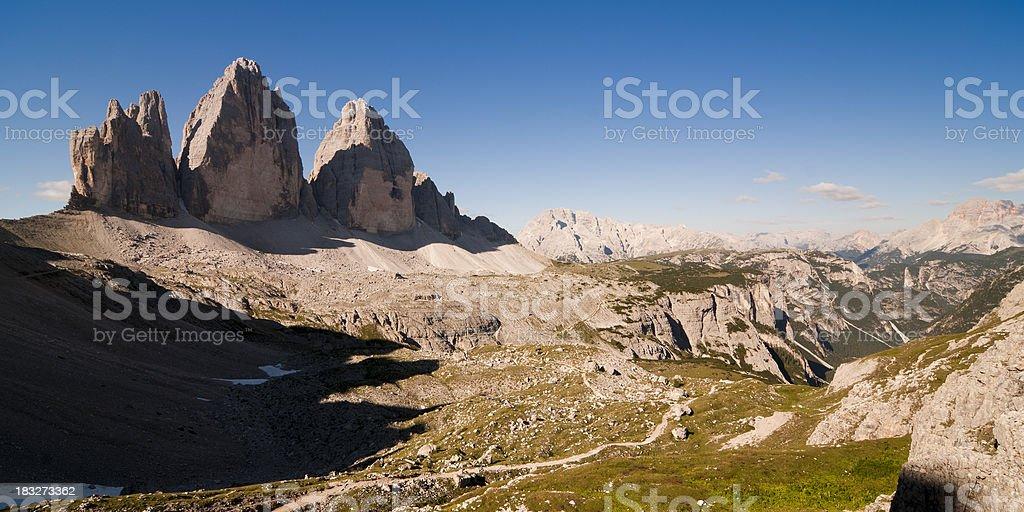 Tre Cime di Lavaredo with shadow stock photo