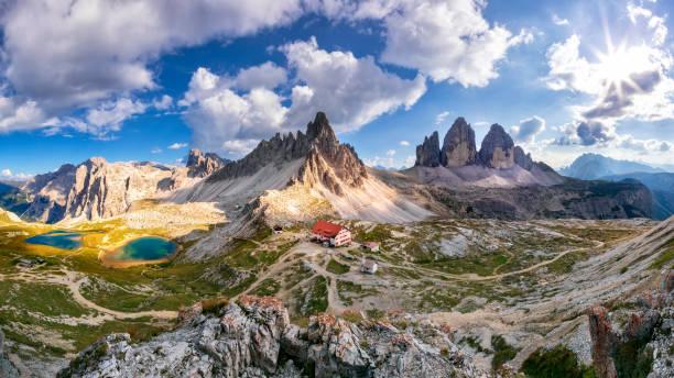 Tre Cime di Lavaredo - XXXL Panorama European Alps, Summer, Tre Cime Di Lavaredo, Alto Adige, Dolomites trentino alto adige stock pictures, royalty-free photos & images