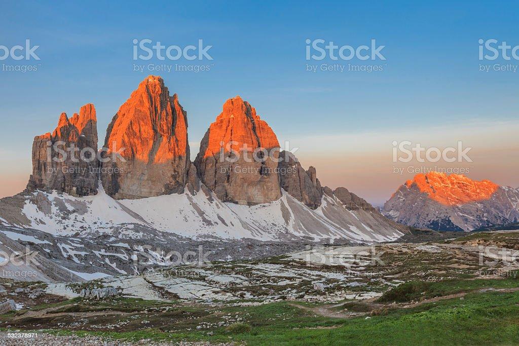 Tre Cime. Dolomite Alps, Italy stock photo