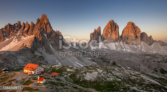 istock tre cime of lavaredo and mount paterno and locatelli refuge panoramic view from the above at sunrise, dolomiti , Italy 1254242511