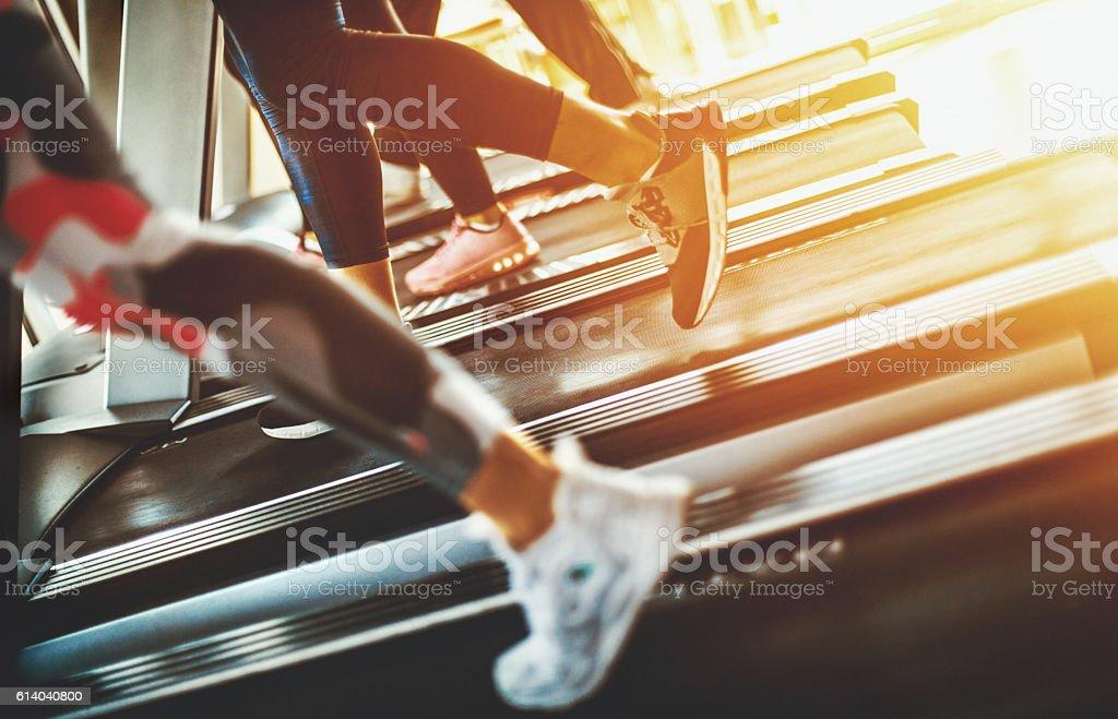 Treadmill exercise. stock photo