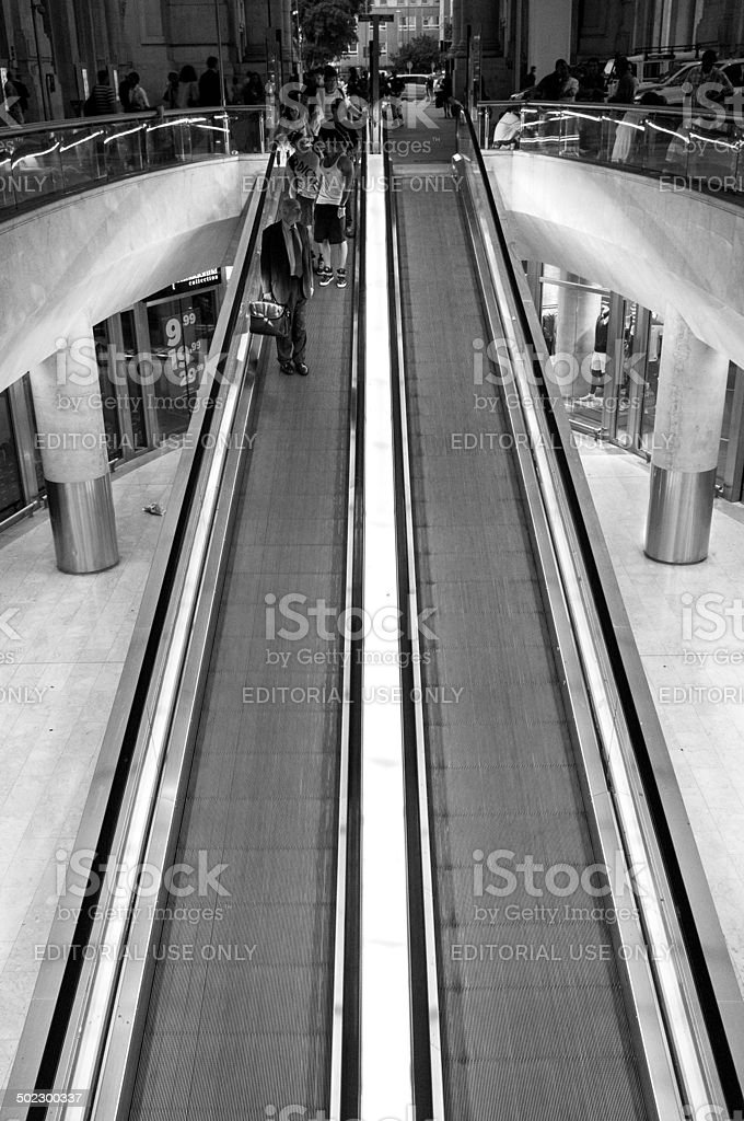 Treadmill of Milan Central Railway Station. BW image stock photo
