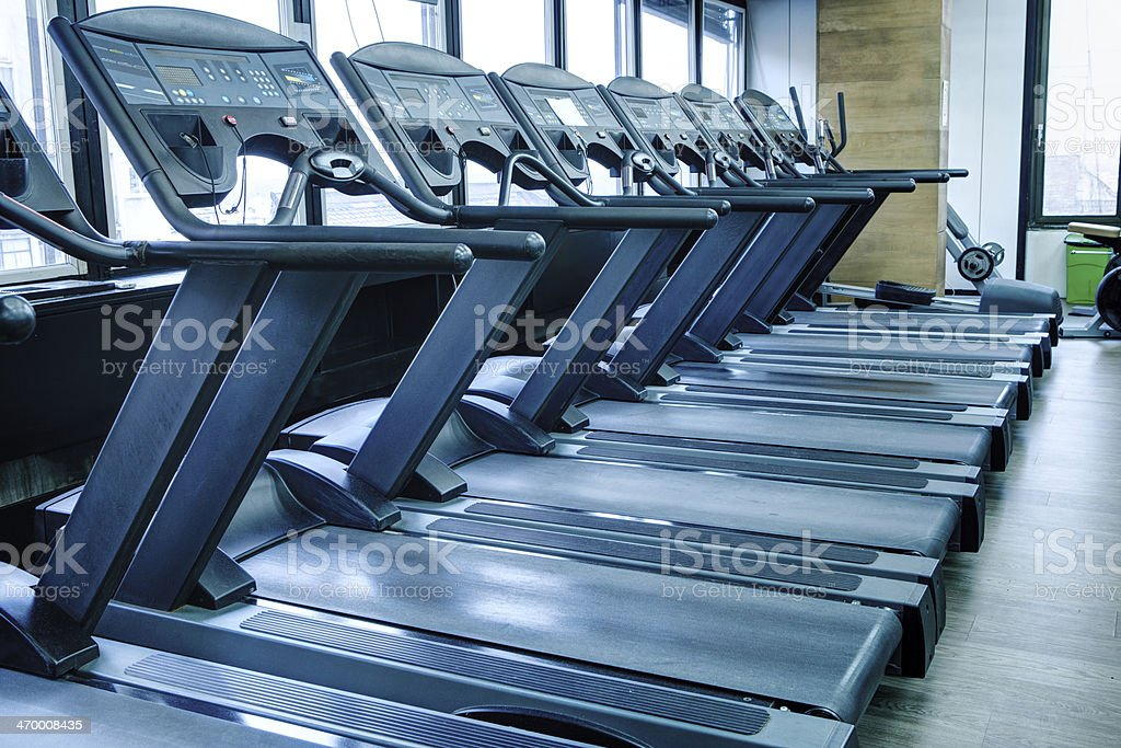 Treadmill running machines stock photo