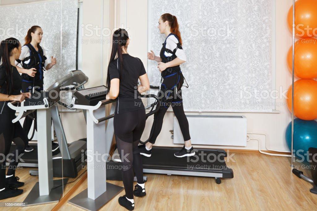 Treadmill training stock photo