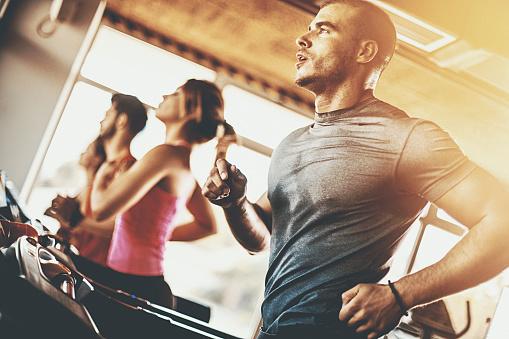 istock Treadmill workout. 610961742