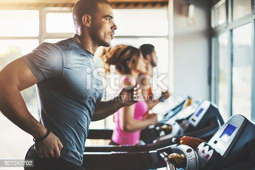 istock Treadmill workout. 927247702