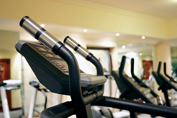 Treadmills at a health club or gym stock photo