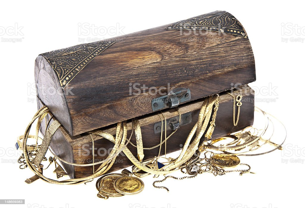 Treasure box with old jewelry royalty-free stock photo