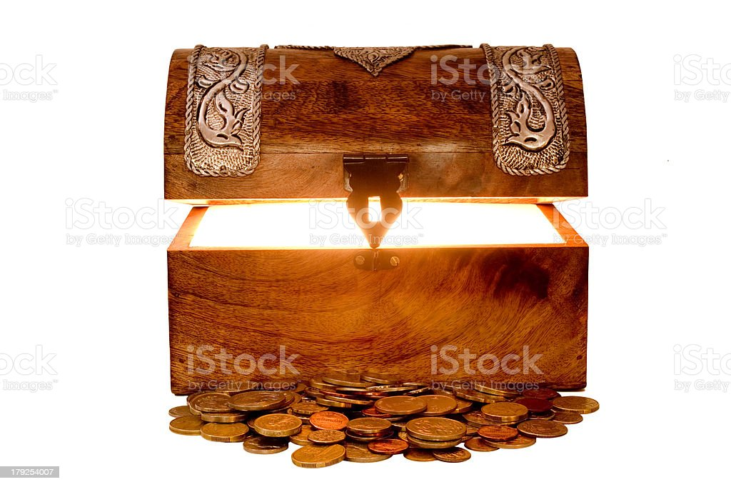 Treasure Chest and Money royalty-free stock photo