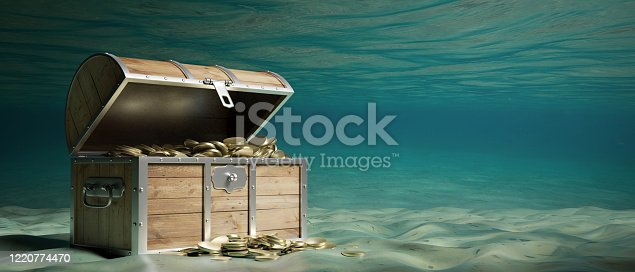 Treasure chest with gold underwater on the seabed. Old wooden trunk with open lid full of golden coins. 3d illustration