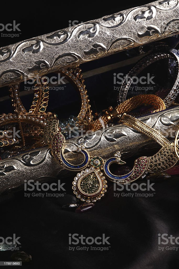 Treasure Chest Full of Gold and Silver Jewelry royalty-free stock photo