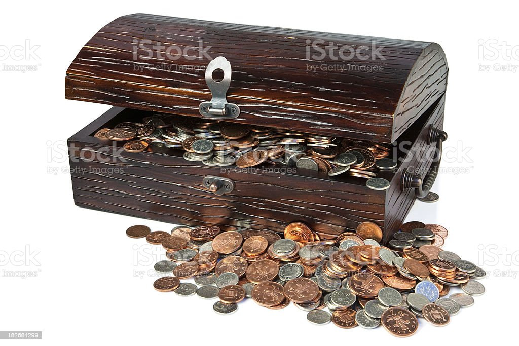 Treasure Chest of Coins stock photo
