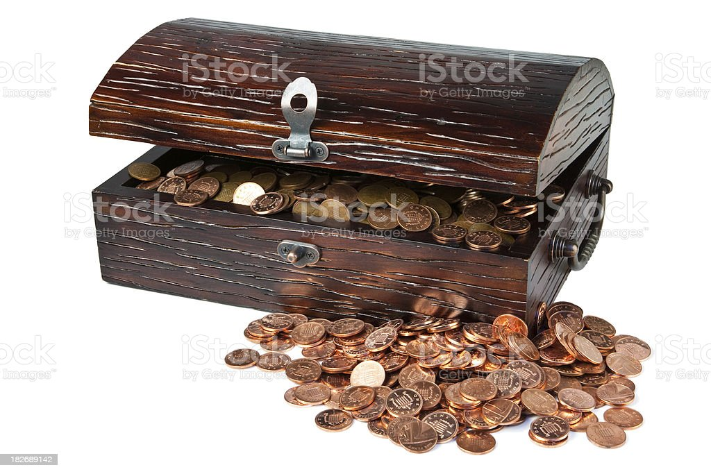 Treasure Chest of Copper Coins royalty-free stock photo