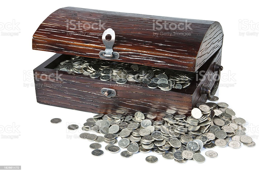 Treasure Chest of Silver Coins stock photo