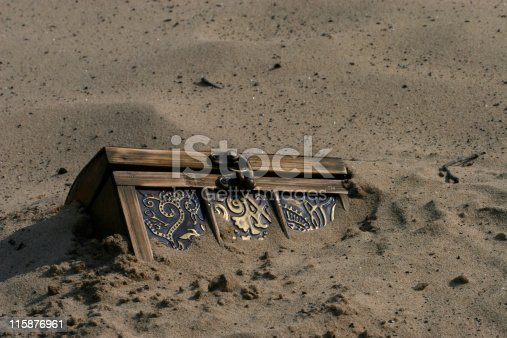 Treasure chest buried in the sand