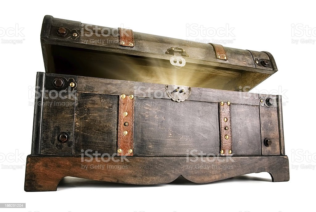 Treasure chest reveals a luminous secret stock photo