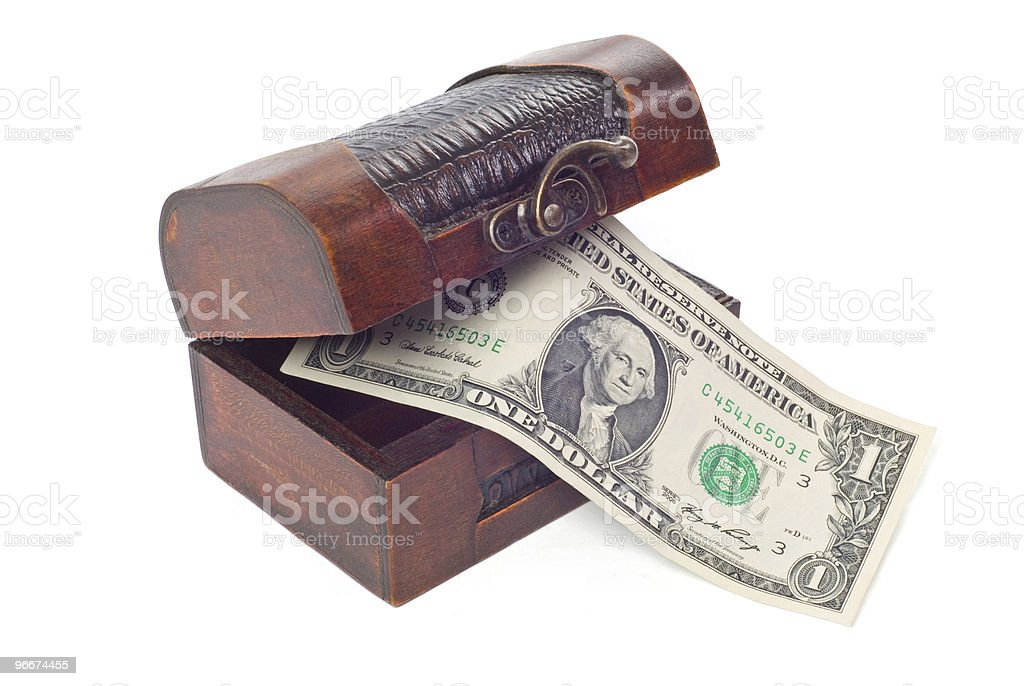 Treasure chest with dollar royalty-free stock photo