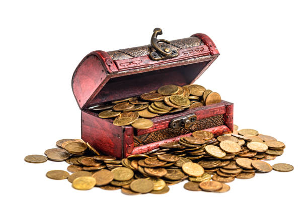 Treasure chest with golden coins Treasure chest with golden coins isolated on white. Work path antiquities stock pictures, royalty-free photos & images
