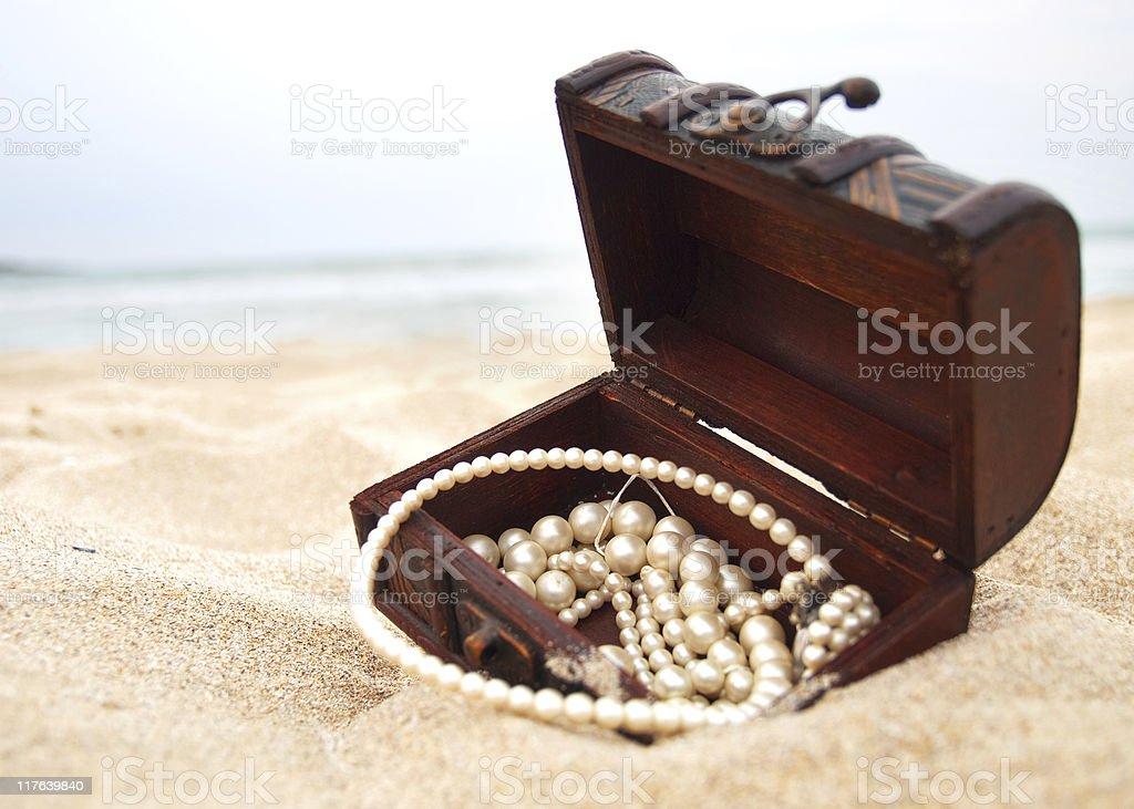 Treasure in the sand stock photo