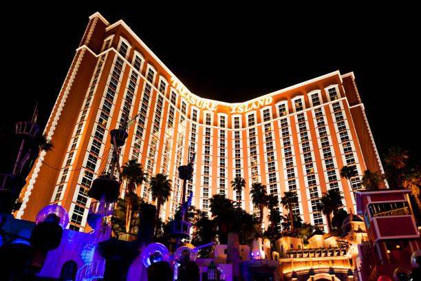 Treasure Island Hotel and Casino at Night in Las Vegas, Nevada, United States stock photo
