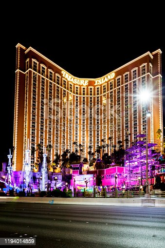 Las Vegas USA - Jun 18, 2015: The outdoor live free show The Sirens of Treasure Island in Las Vegas, Nevada. The show presents several times nightly with a large cast of stunt performers.