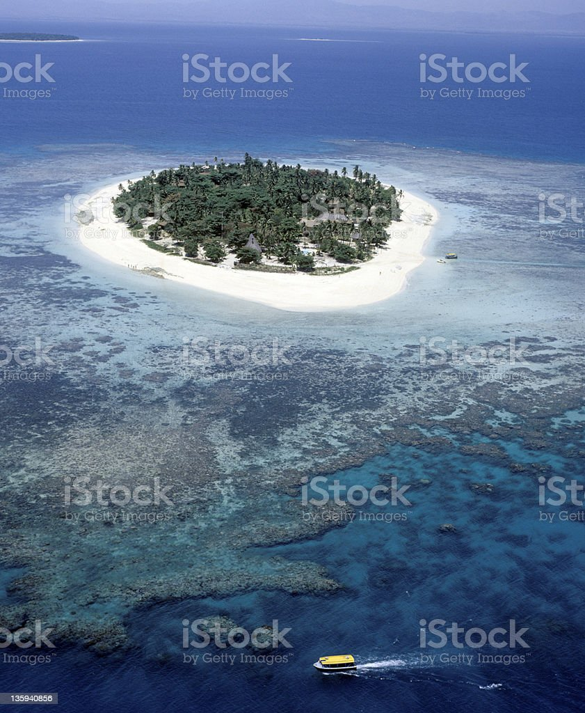Treasure island right in the middle of the sea stock photo